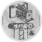 1899 Photographic Camera Patent Print Gray Round Beach Towel