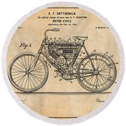 1901 Stratton Motorcycle Antique Paper Patent Print Round Beach Towel