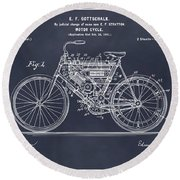 1901 Stratton Motorcycle Blackboard Patent Print Round Beach Towel