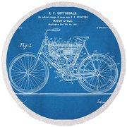 1901 Stratton Motorcycle Blueprint Patent Print Round Beach Towel