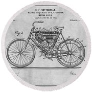 1901 Stratton Motorcycle Gray Patent Print Round Beach Towel