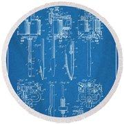 1904 Wagner Tattoo Machine Blueprint Patent Print Round Beach Towel