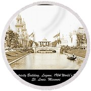 1904 World's Fair Lagoon And Electricity Building Round Beach Towel