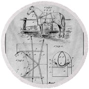 1905 Horse Blanket Patent Print Gray Round Beach Towel