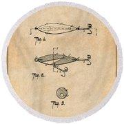 1909 Lockhart Antique Fishing Lure Antique Paper Patent Print Round Beach Towel
