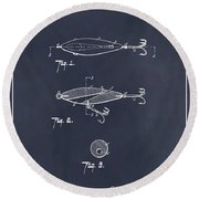 1909 Lockhart Antique Fishing Lure Blackboard Patent Print  Round Beach Towel