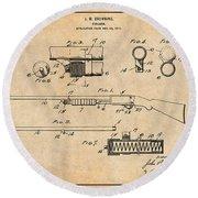 1913 Remington Model 17 Pump Shotgun Antique Paper Patent Print Round Beach Towel