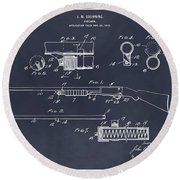 1913 Remington Model 17 Pump Shotgun Blackboard Patent Print Round Beach Towel