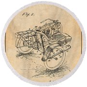 1913 Side Car Attachment For Motorcycle Antique Paper Patent Print Round Beach Towel