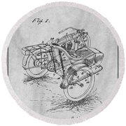 1913 Side Car Attachment For Motorcycle Gray Patent Print Round Beach Towel