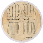 1914 Hockey Gloves Antique Paper Patent Print Round Beach Towel
