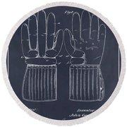 1914 Hockey Gloves Blackboard Patent Print Round Beach Towel