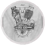 1914 Spacke V Twin Motorcycle Engine Gray Patent Print Round Beach Towel