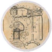 1919 Anesthetic Machine Antique Paper Patent Print Round Beach Towel