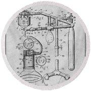 1919 Anesthetic Machine Gray Patent Print Round Beach Towel