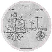 1919 Antique Tractor Gray Patent Print Round Beach Towel