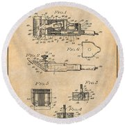 1919 Motor Driven Hair Clipper Antique Paper Patent Print Round Beach Towel