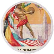 1920 Summer Olympics Vintage Poster Round Beach Towel