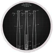 1924 Baseball Bat - Black Blueprint Round Beach Towel