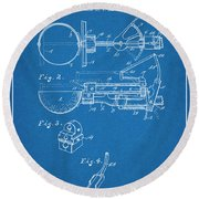 1924 Ice Cream Scoop Blueprint Patent Print Round Beach Towel