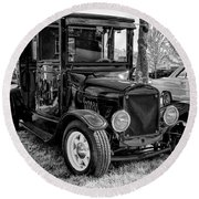 1925 Ford Model T Delivery Truck Hot Rod Round Beach Towel