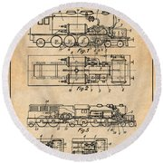 1925 Turbine Driven Locomotive Antique Paper Patent Print  Round Beach Towel