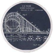1927 Roller Coaster Blackboard Patent Print Round Beach Towel