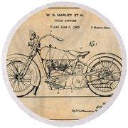 1928 Harley Davidson Motorcycle Antique Paper Patent Print Round Beach Towel