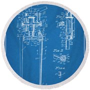 1929 Harley Davidson Front Fork Blueprint Patent Print Round Beach Towel