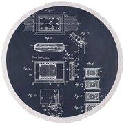 1930 Leon Hatot Self Winding Watch Patent Print Blackboard Round Beach Towel