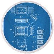 1930 Leon Hatot Self Winding Watch Patent Print Bluebrint Round Beach Towel