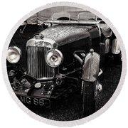 1930's Aston Martin Convertible Round Beach Towel