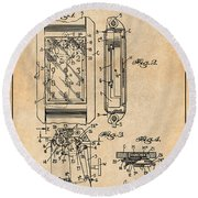 1931 Self Winding Watch Patent Print Antique Paper Round Beach Towel