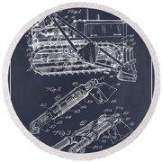 1932 Earth Moving Bulldozer Blackboard Patent Print Round Beach Towel