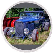 1932 Ford Highboy Hot Rod Roadster Round Beach Towel