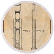 1932 San Francisco Golden Gate Bridge Antique Paper Patent Print Round Beach Towel
