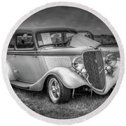 1933 Ford Tudor Sedan With Trailer Round Beach Towel