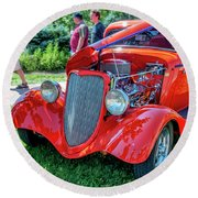 1934 Ford 3 Window Coupe Hot Rod Round Beach Towel