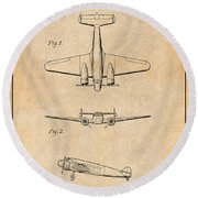 1934 Lockheed Model 10 Electra Airliner Patent Antique Paper Round Beach Towel