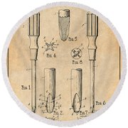 1935 Phillips Screw Driver Antique Paper Patent Print Round Beach Towel