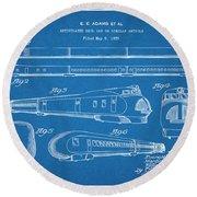 1935 Union Pacific M-10000 Railroad Blueprint Patent Print Round Beach Towel