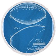 1936 Reach Football Blueprint Patent Print Round Beach Towel