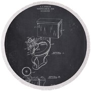 1936 Toilet Bowl - Dark Charcoal Grunge Round Beach Towel