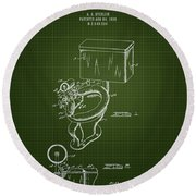 1936 Toilet Bowl - Dark Green Blueprint Round Beach Towel