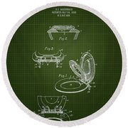 1936 Toilet Seat - Dark Green Blueprint Round Beach Towel