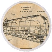 1937 Jabelmann Locomotive Antique Paper Patent Print Round Beach Towel