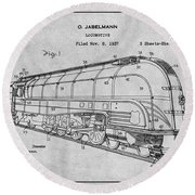 1937 Jabelmann Locomotive Gray Patent Print Round Beach Towel