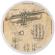 1937 Trumpet Antique Paper Patent Print Round Beach Towel