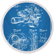 1938 Bell And Howell Movie Camera Patent Print Blueprint Round Beach Towel