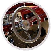 1938 Pontiac Silver Streak Interior Round Beach Towel
